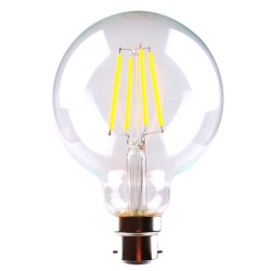 6W LED Filament G125 LED B22 (BC) Warm White Dimmable
