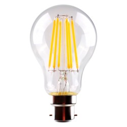 8W LED Filament GLS A60 B22 Warm White Dimmable